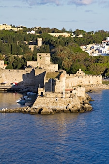 View on the stone wall of world famous rhodes castle in rhodes island