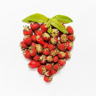 Above view strawberries arrangement