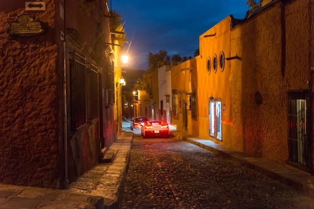 View of a street at night, zona centro, san miguel de allende, guanajuato, mexico