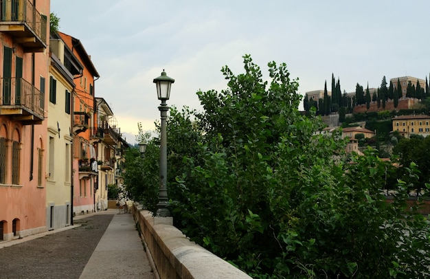 A view of a street of verona in italy
