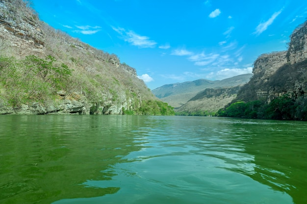 View of sumidero canyon in chiapas, mexico with a beautiful blue sky. high quality photo