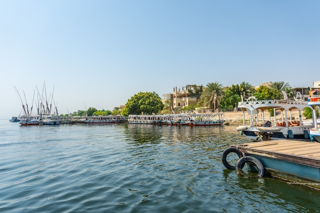 View of the surroundings of the city of luxor from the nile. egypt
