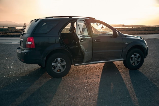 View of the suv illuminated by the setting sun