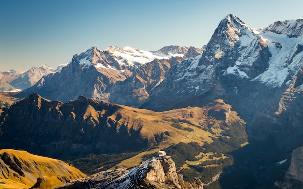 View of swiss alps from schilthorn in switzerland