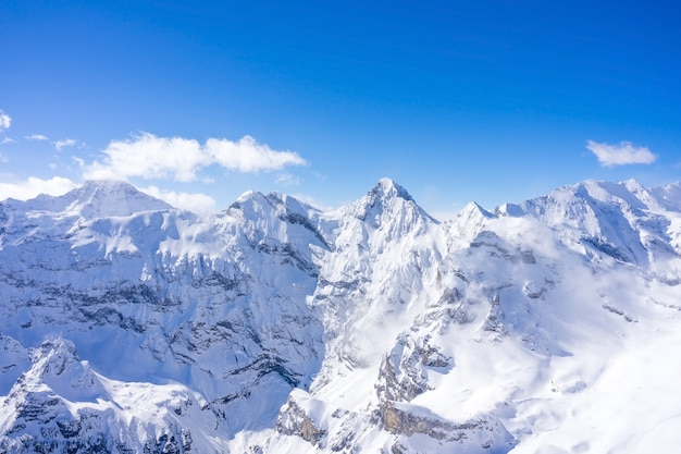 View of the swiss alps from the top of the schilthorn mountain in the jungfrau