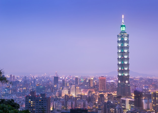 View of taipei skyline during twillight in taiwan