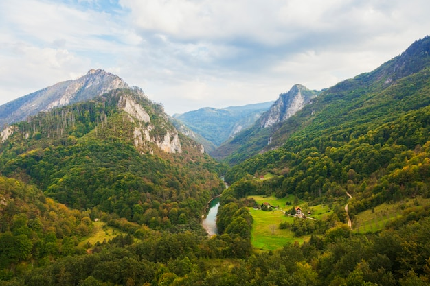 View of the tara river from the djurdjevic arc bridge in montenegro and european mountain landscapes