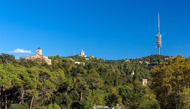 View of tibidabo mountain in barcelona