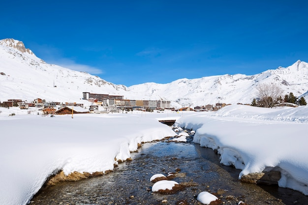 View of tignes village in winter, france.