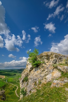 モルドバの北にある石灰岩の残骸を見る