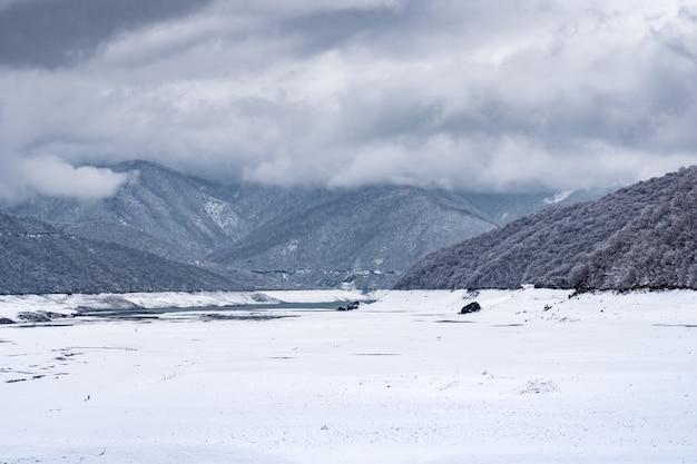 ジョージア州の冬のジンバリ貯水池を見る