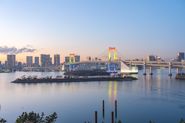 View of tokyo bay city skyline at night in japan.