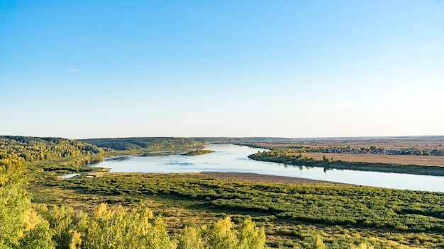 View of tom river in autumn from lagerniy sad. tomsk. russia.