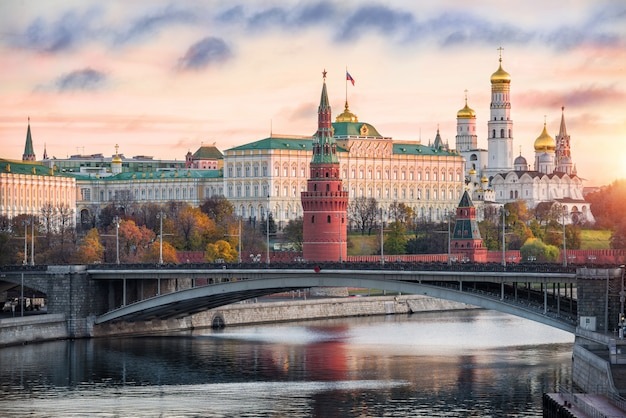 View of the towers and temples of the moscow kremlin, the kremlin embankment