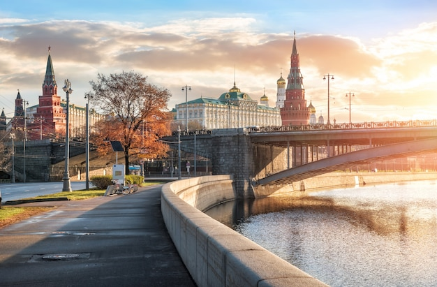 View of the towers and temples of the moscow kremlin
