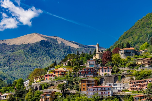 View at town argegno on lake como in italy