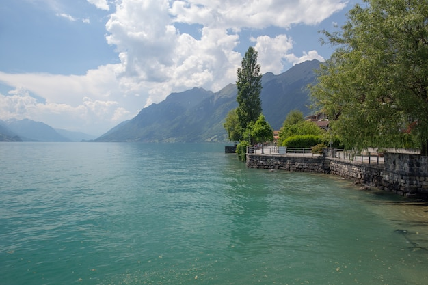 View of the town named brienz, on the shores of lake thun, in the canton of bern, switzerland.