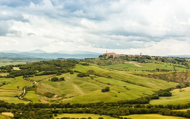 View of the town of pienza with the typical tuscan hills