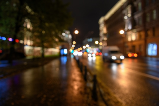 View of traffic in city street blurred bokeh background, night