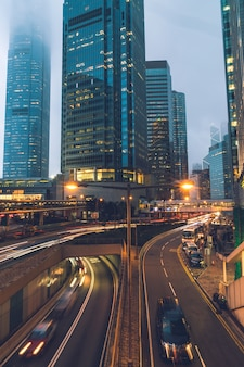 View of traffics with office & commercial buildings in central area in hong kong.
