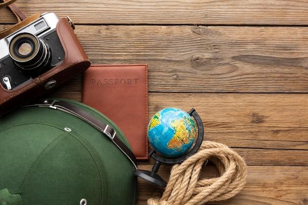 Above view travel items arrangement