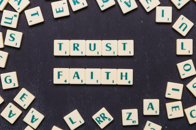 View of trust and faith scrabble letters from above