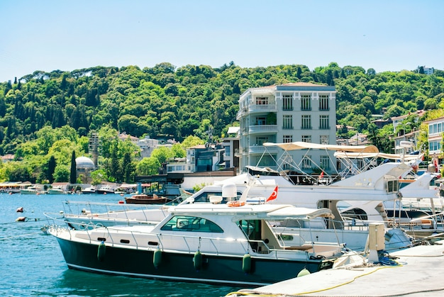 A view of the turkish nature, the boats and the bosporus from an embankment in the arnavutky district of istanbul. turkish san francisco.