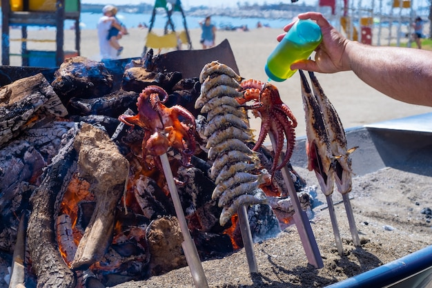 View of a typical fish skewer on the beaches of malaga
