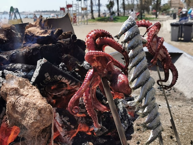 View of a typical fish skewer on the beaches of malaga.
