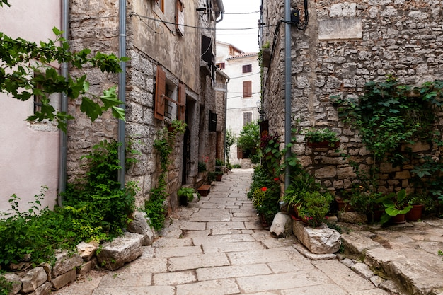 View of typical istrian alley in villa, bale, croatia