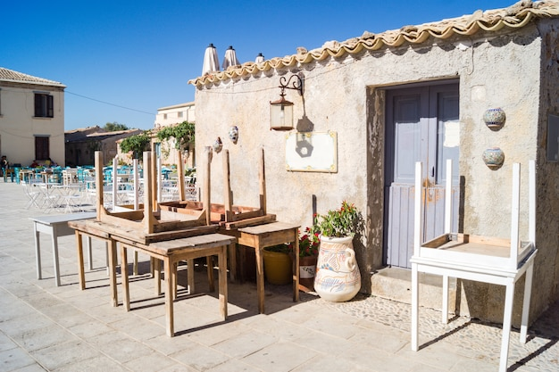 View of a typical rustic house in marzamemi, sicily