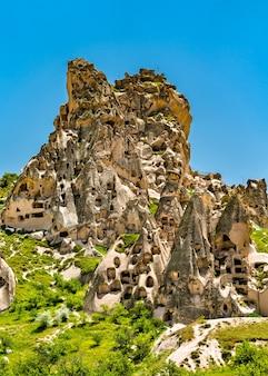 View of uchisar rock fortress in cappadocia, turkey