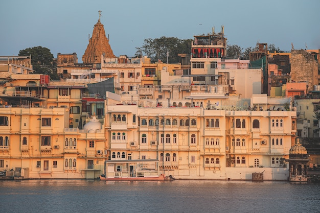 View of udaipur city at lake pichola in the morning, rajasthan, india.