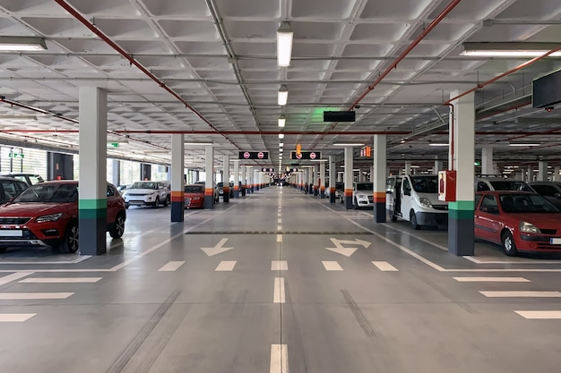 View of underground car park with parked cars