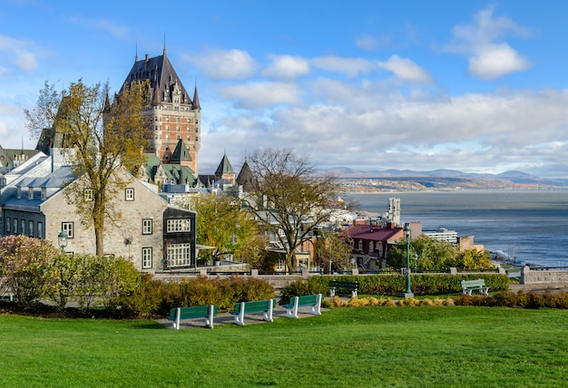 View of upper town of old quebec city in quebec, canada
