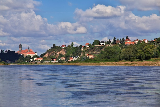The view on valley of elbe river in saxony, germany