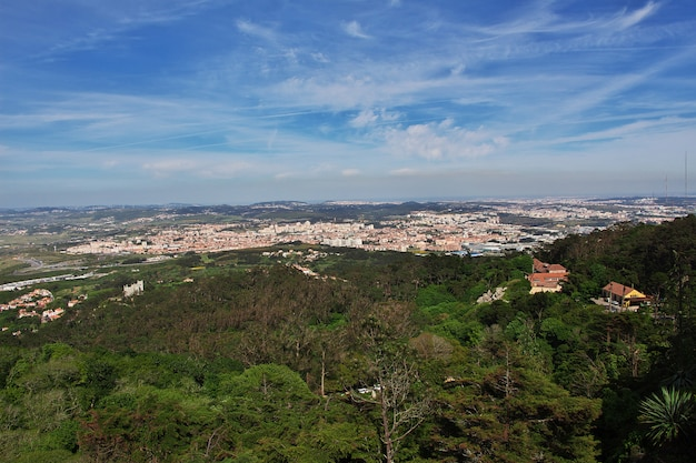 The view on valley from pena palace in sintra city, portugal