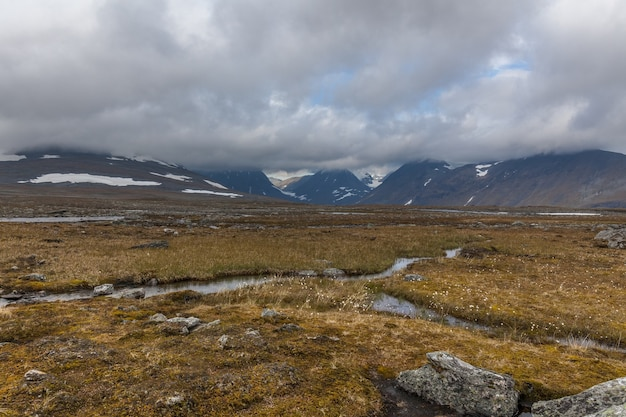 View of the valley. northern sweden, sarek national park in stormy weather