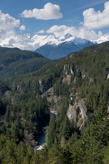 View of valley with mountains against cloudy sky, bc coast, coast mountains, squamish, british colum