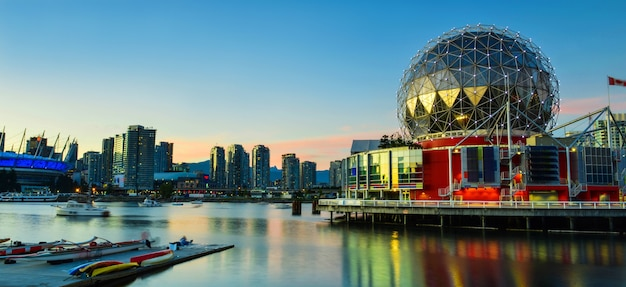 View of vancouver bc with harbor at sunset canada