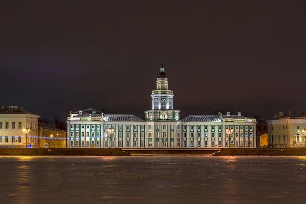 View of vasilievsky island in st. petersburg, russia on a winter night.