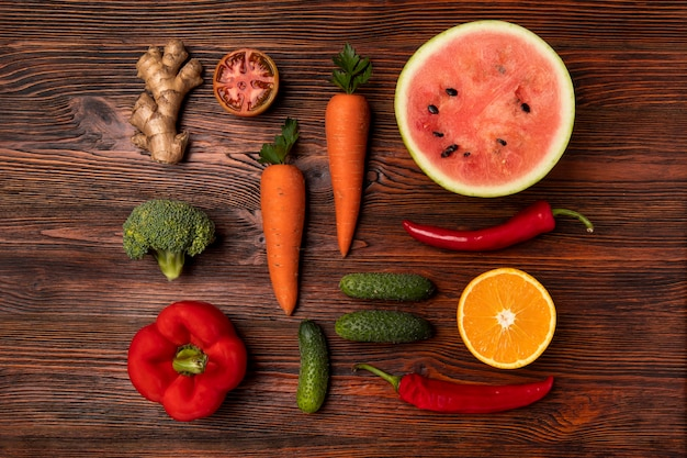 Above view vegetables and fruits arrangement