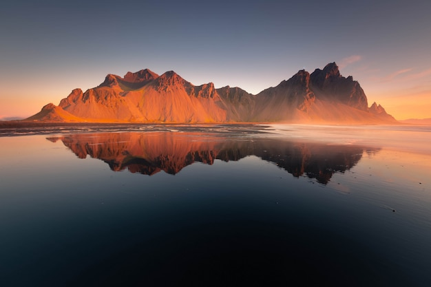 View to the vestrahorn mountain from the stokksnes beach, iceland.
