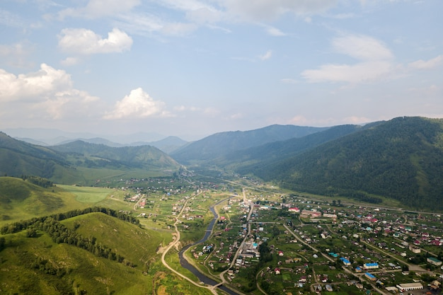 View of village and mountains