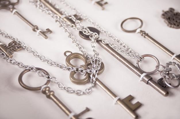 View at vintage metal keys