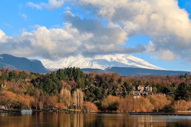 View of the volcano in the lake of villarrica