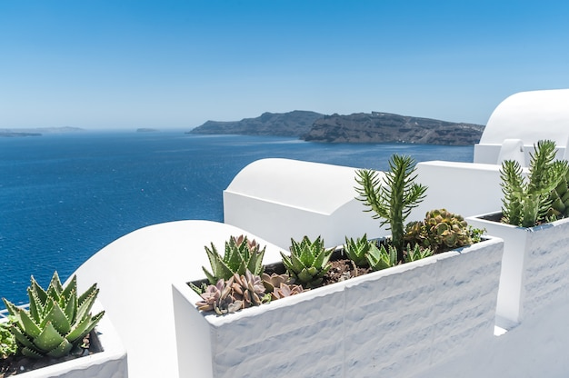 View of the volcano of santorini from the oia village