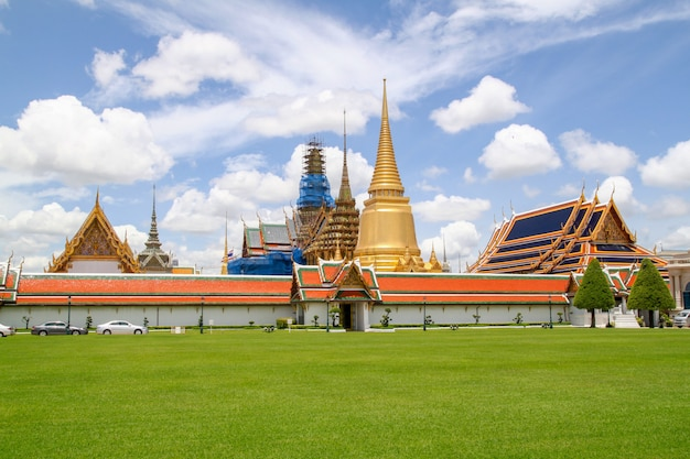 View of wat phra kaew temple landmark in bangkok at thailand