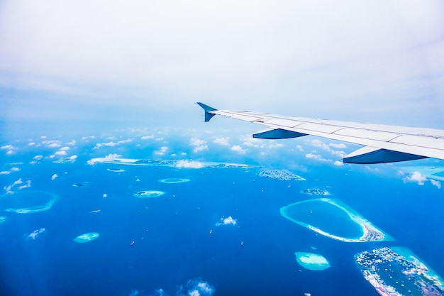 View water airliner flying sea