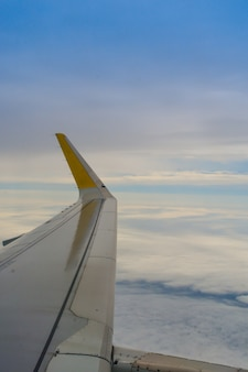 View of the wing of a commercial airplane.